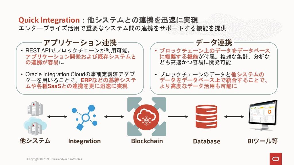 エンタープライズ活用で重要なシステム間の連携をサポートする機能を提供 Quick Integr...