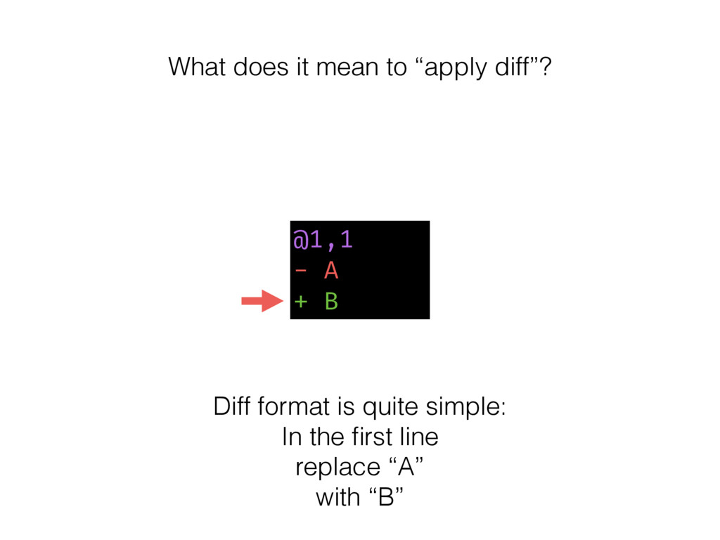 @1,1 - A + B Diff format is quite simple: In th...