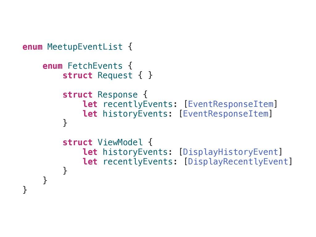 enum MeetupEventList { enum FetchEvents { struc...