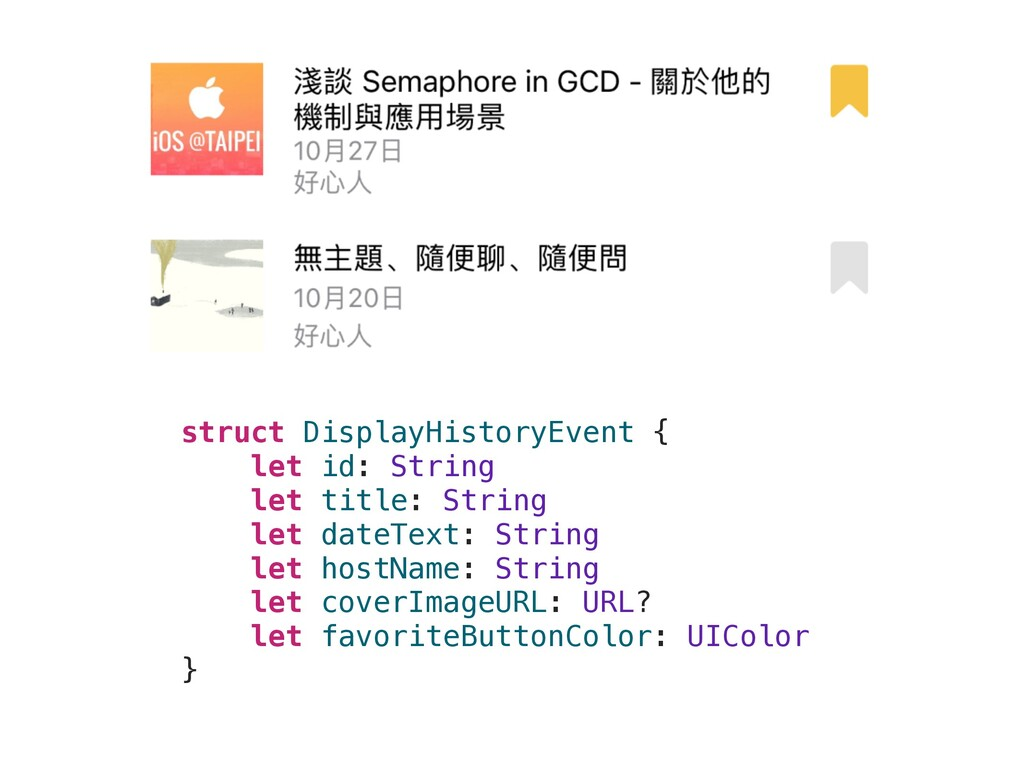 struct DisplayHistoryEvent { let id: String let...