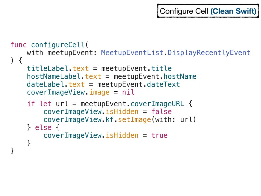 func configureCell( with meetupEvent: MeetupEve...