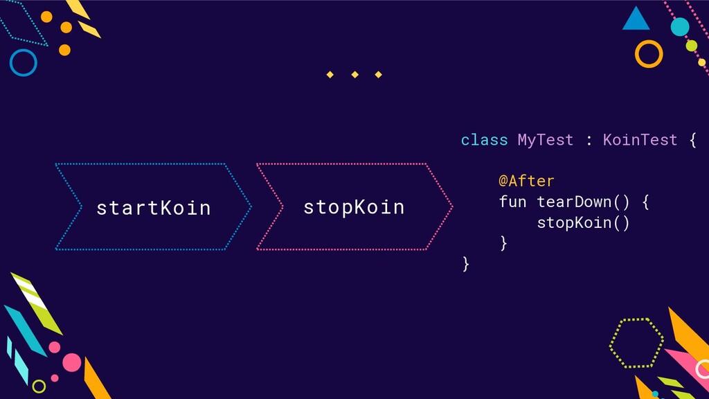 startKoin stopKoin class MyTest : KoinTest { @A...