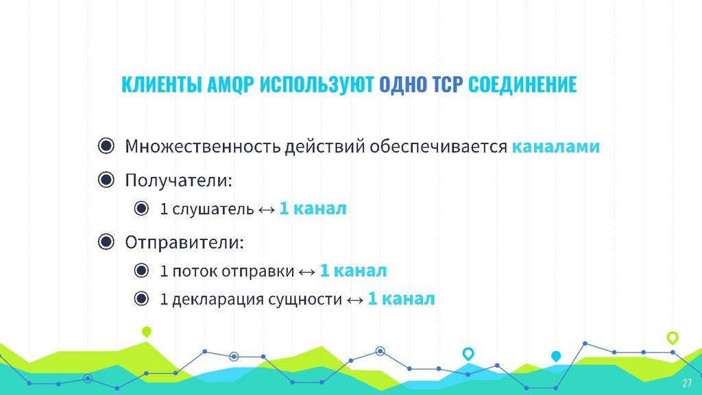КЛИЕНТЫ AMQP ИСПОЛЬЗУЮТ ОДНО TCP СОЕДИНЕНИЕ ↔ ↔...