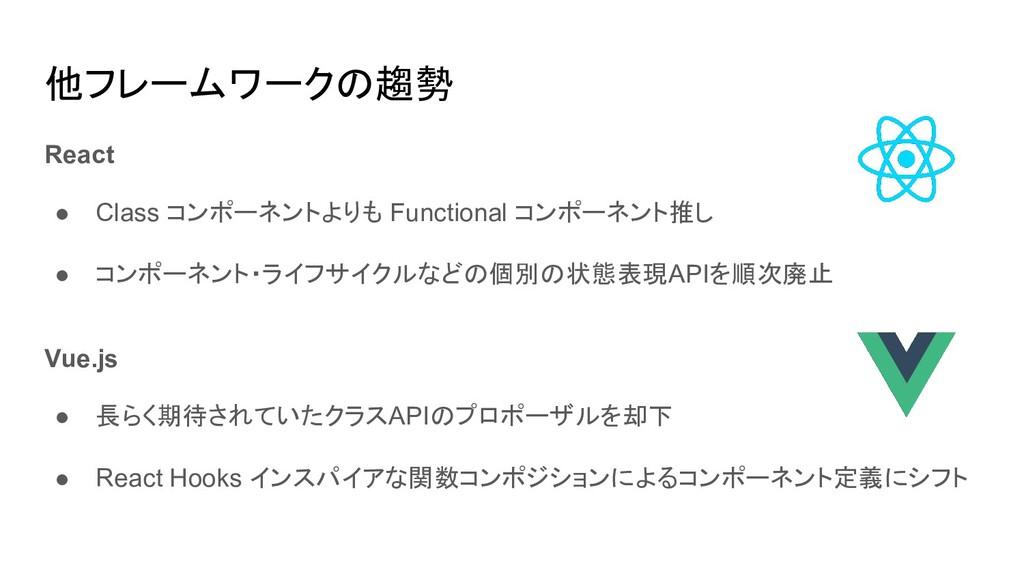 他フレームワークの趨勢 React ● Class コンポーネントよりも Functional...