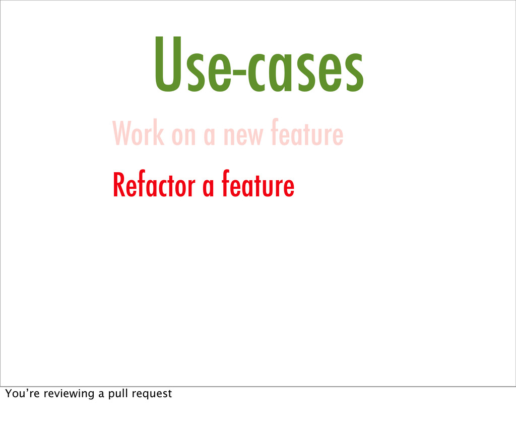 Use-cases Work on a new feature Refactor a feat...