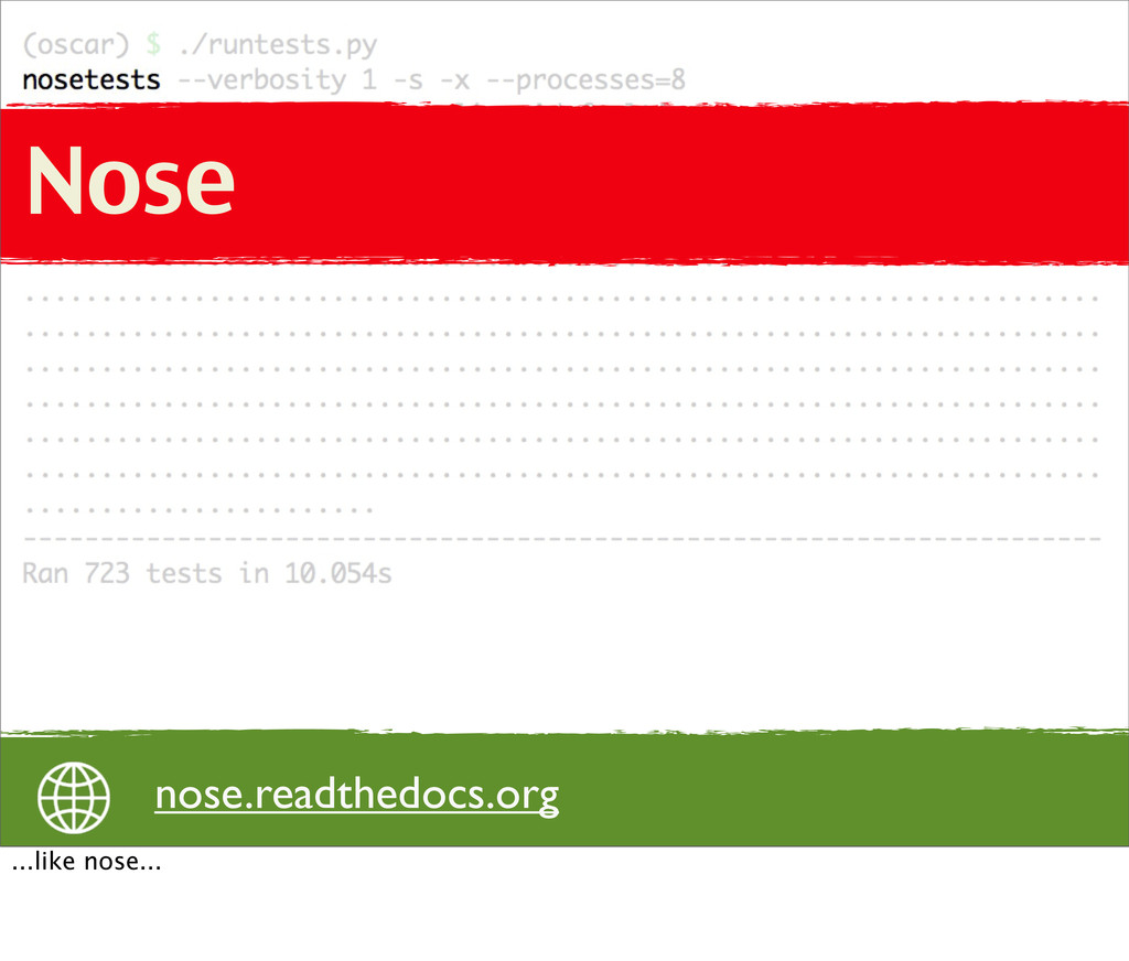 Nose Nose nose.readthedocs.org ...like nose...