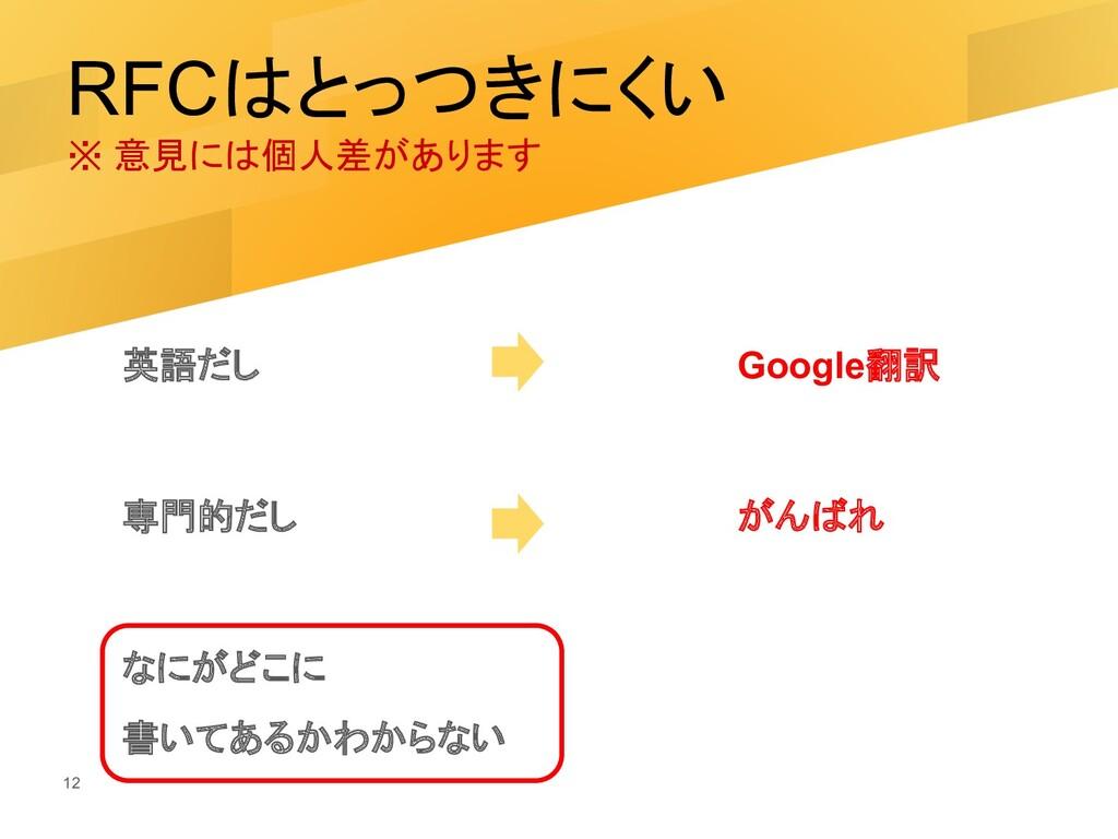 RFCはとっつきにくい ※ 意見には個人差があります 英語だし Google翻訳 専門的だし ...