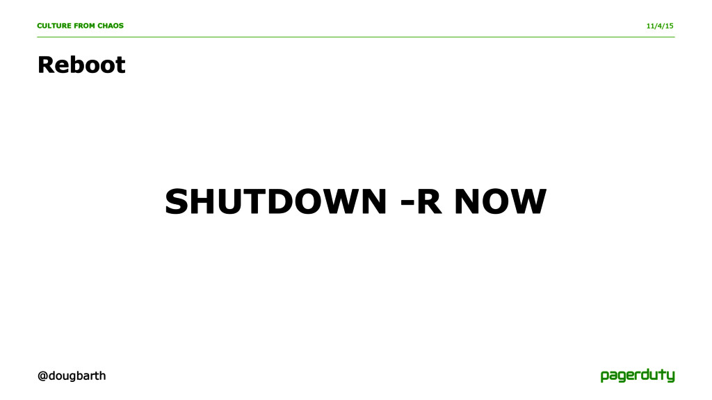 11/4/15 CULTURE FROM CHAOS SHUTDOWN -R NOW Rebo...