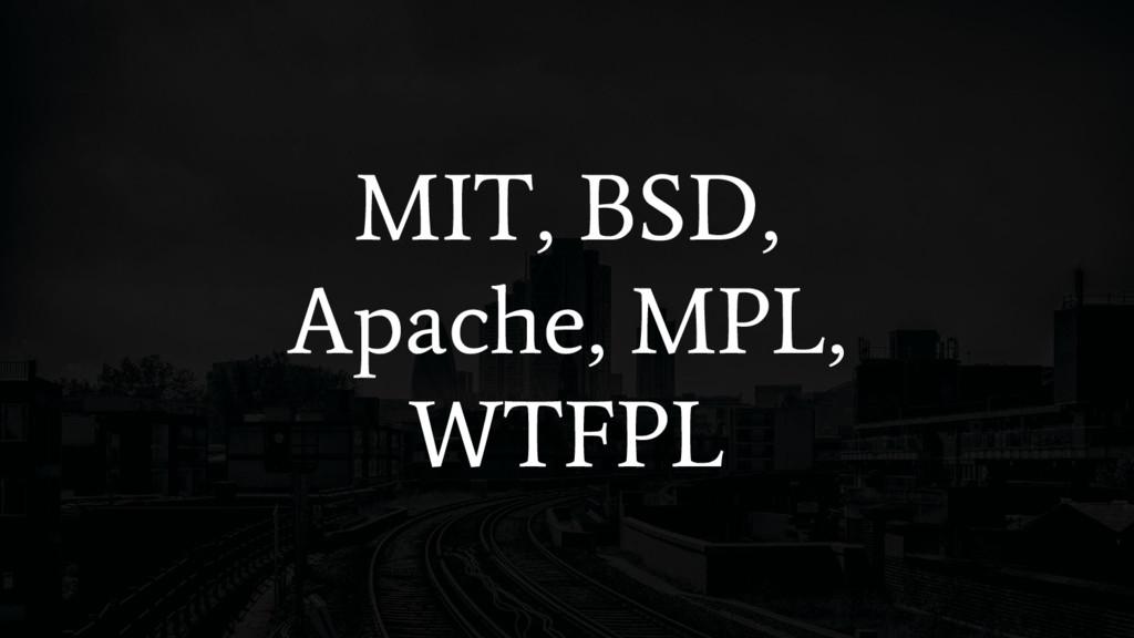 MIT, BSD, Apache, MPL, WTFPL