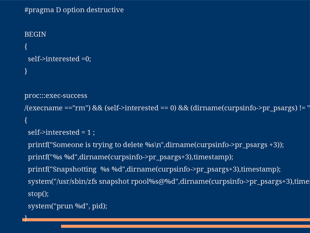 #pragma D option destructive BEGIN { self->inte...