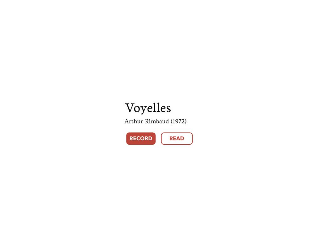 Voyelles Arthur Rimbaud (1972) RECORD READ