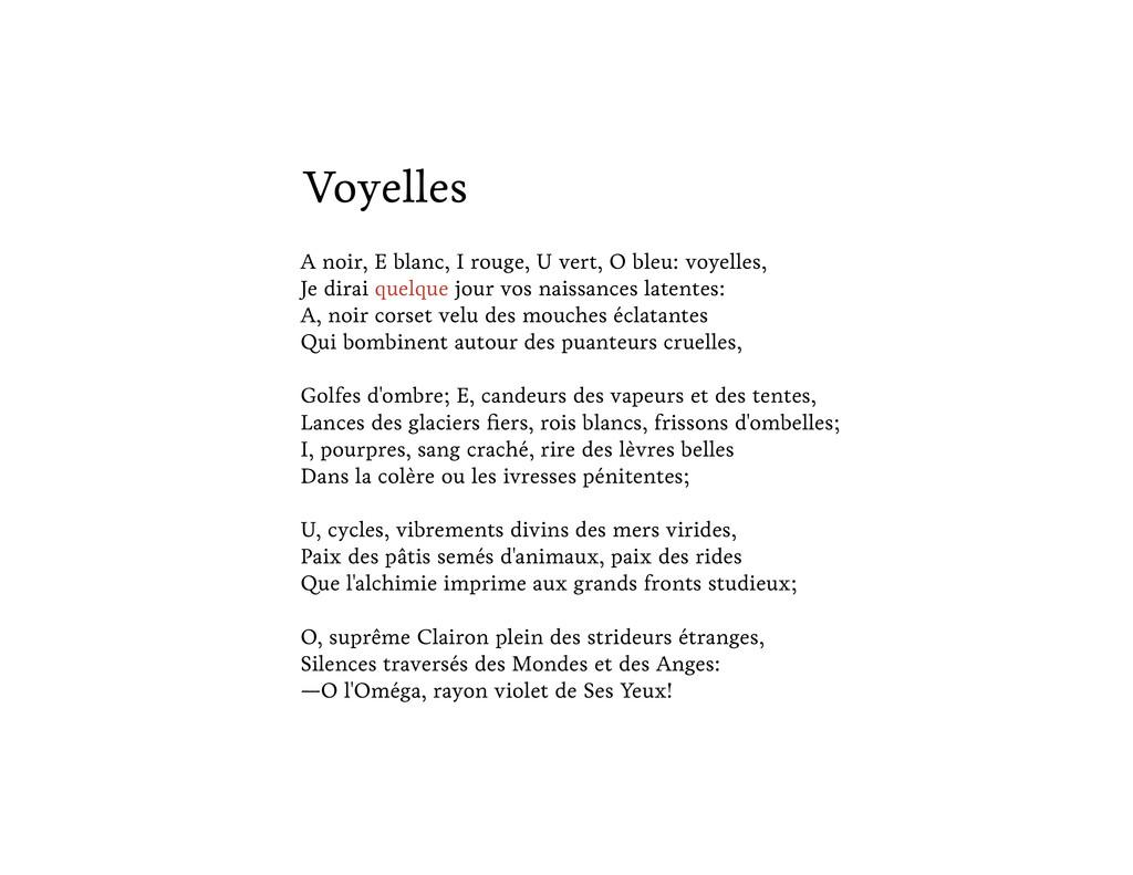 Voyelles A noir, E blanc, I rouge, U vert, O bl...