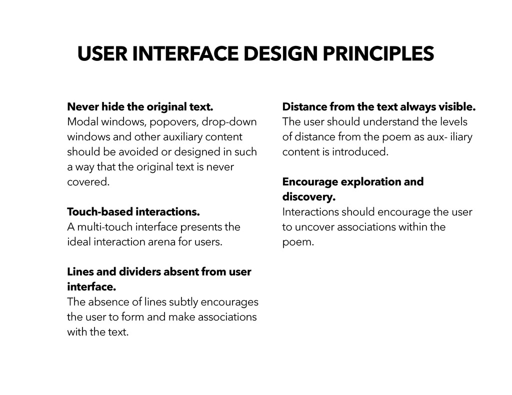 USER INTERFACE DESIGN PRINCIPLES Never hide the...