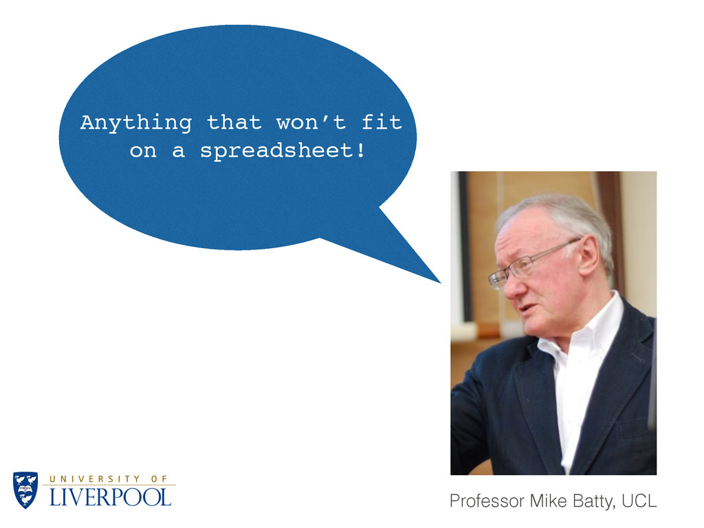 Professor Mike Batty, UCL Anything that won't f...