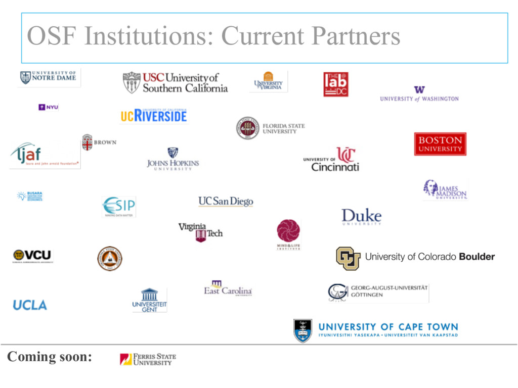 OSF Institutions: Current Partners Coming soon: