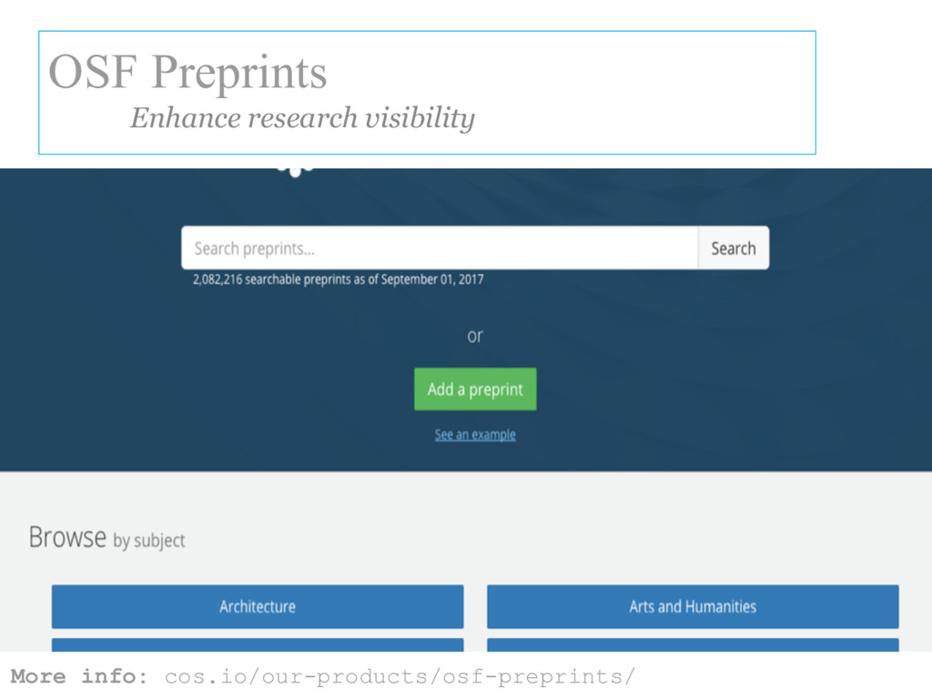 More info: cos.io/our-products/osf-preprints/ O...