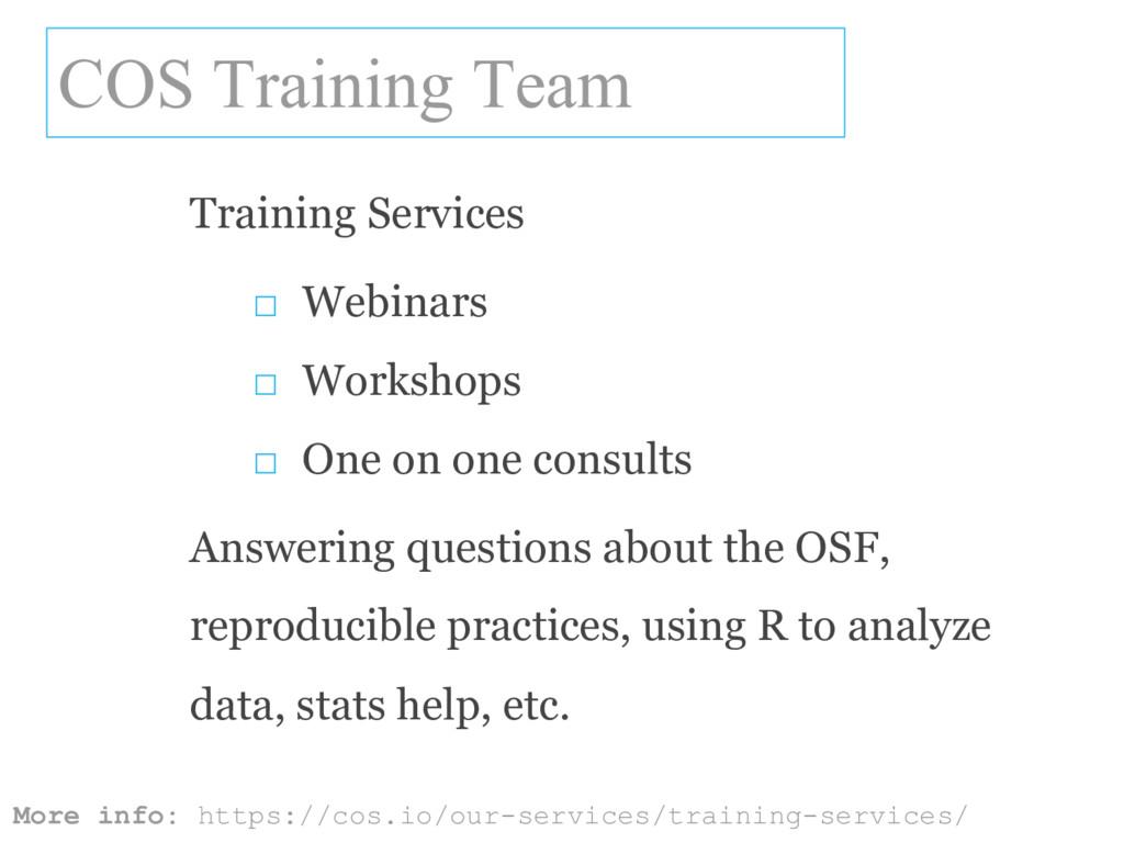 COS Training Team More info: https://cos.io/our...