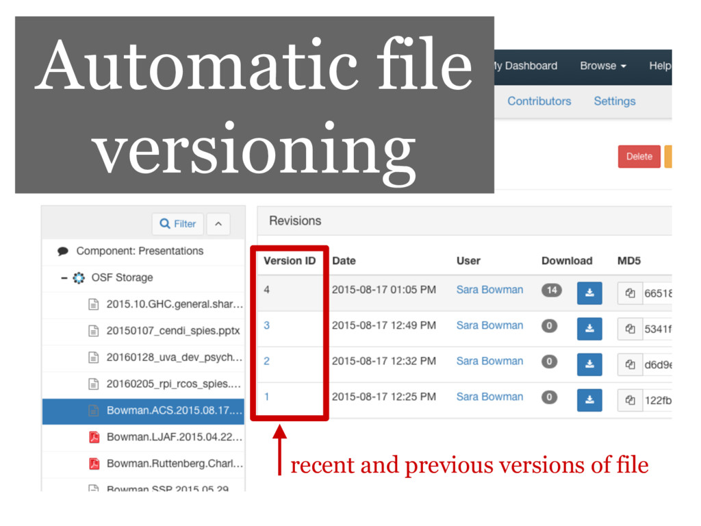 Automatic file versioning recent and previous v...