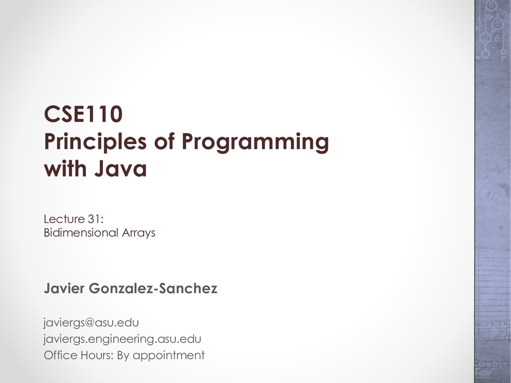 CSE110 Principles of Programming with Java Lect...