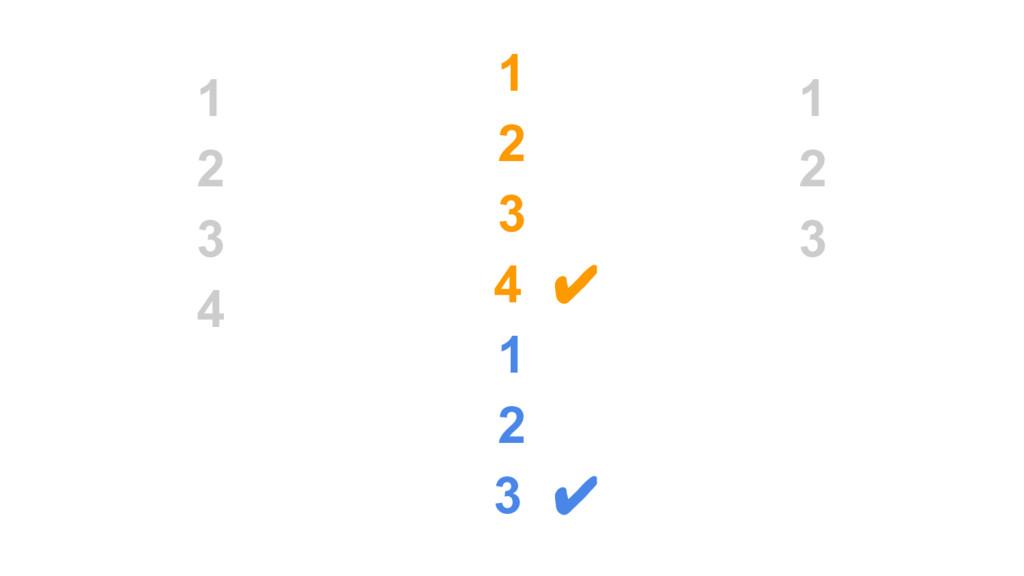 1 2 3 4 1 2 3 4 ✔ 1 2 3 ✔ 1 2 3