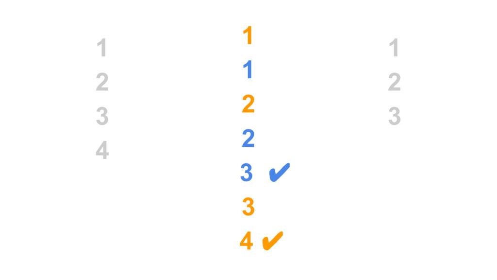 1 2 3 4 1 1 2 2 3 ✔ 3 4 ✔ 1 2 3