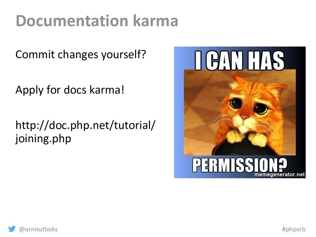 @arnoutboks #phpsrb Documentation karma Commit ...