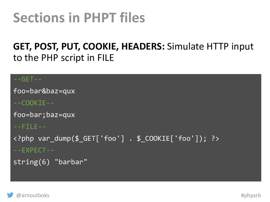 @arnoutboks #phpsrb Sections in PHPT files GET,...