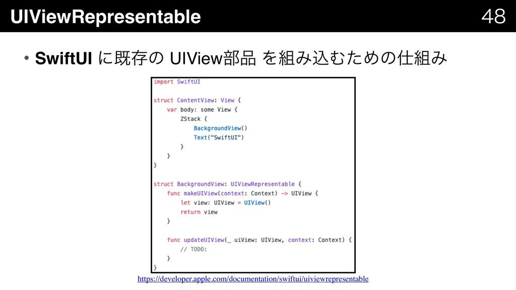 UIViewRepresentable   • SwiftUI ʹطଘͷ UIView෦...