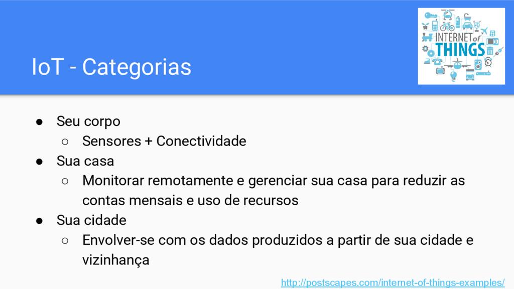IoT - Categorias ● Seu corpo ○ Sensores + Conec...