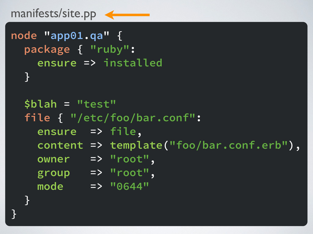 "manifests/site.pp node ""app01.qa"" { package { ""..."