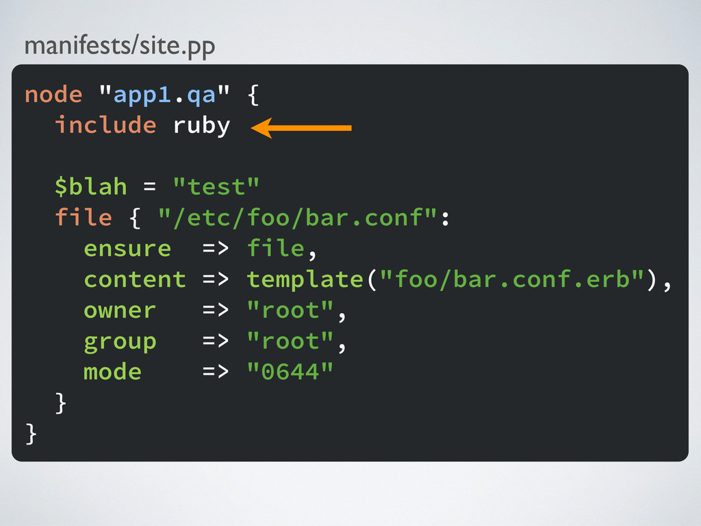 "manifests/site.pp node ""app1.qa"" { include ruby..."