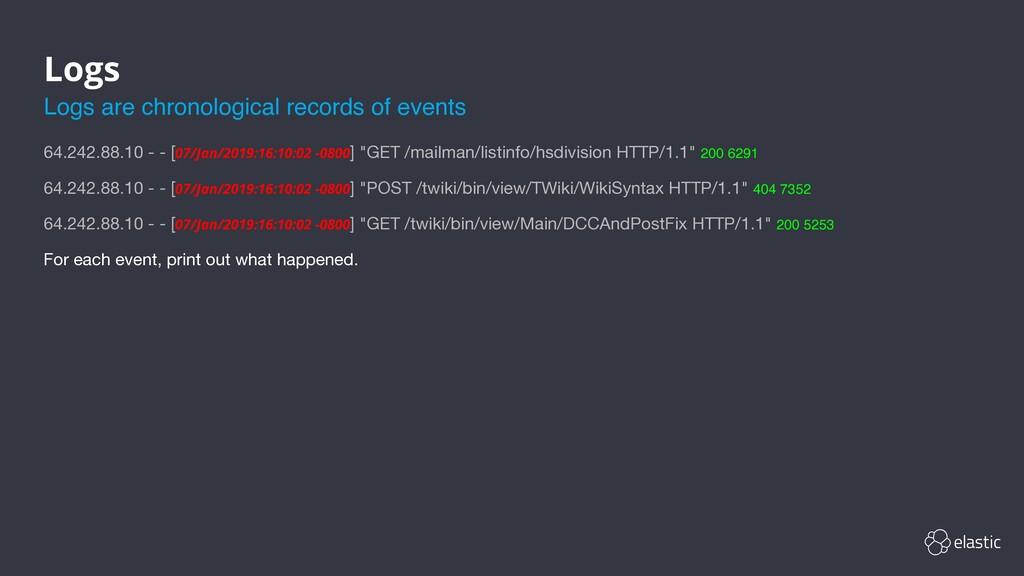 Logs 64.242.88.10 - - [07/Jan/2019:16:10:02 -08...