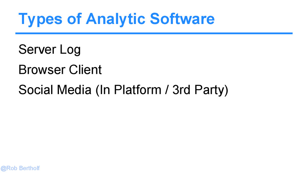 @Rob Bertholf Types of Analytic Software Server...