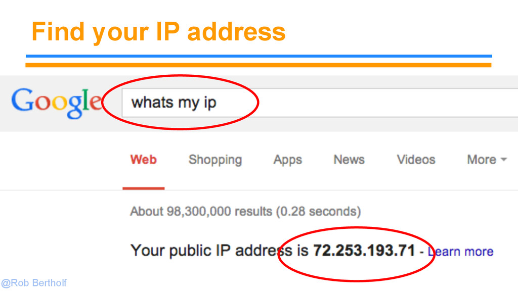@Rob Bertholf Find your IP address