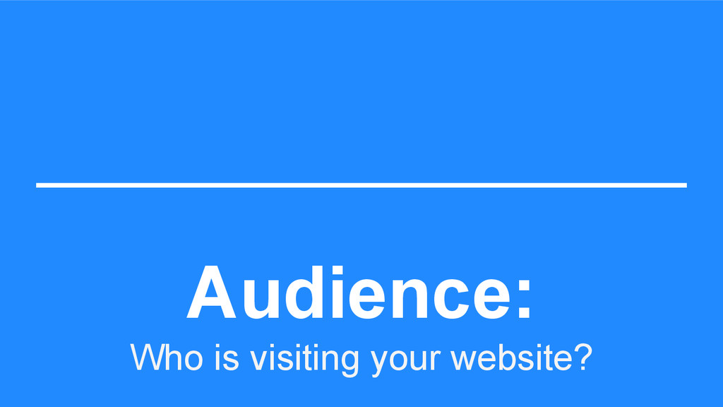 Audience: Who is visiting your website?