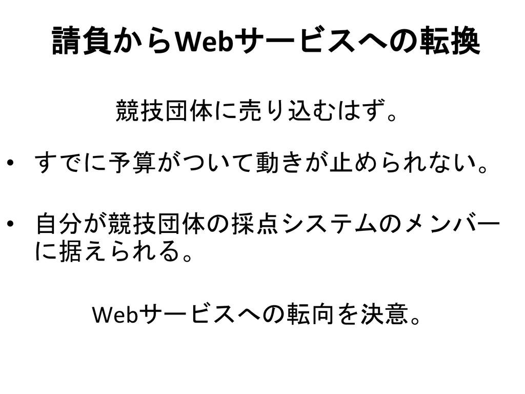 請負からWebサービスへの転換 競技団体に売り込むはず。 • すでに予算がついて動きが止められ...