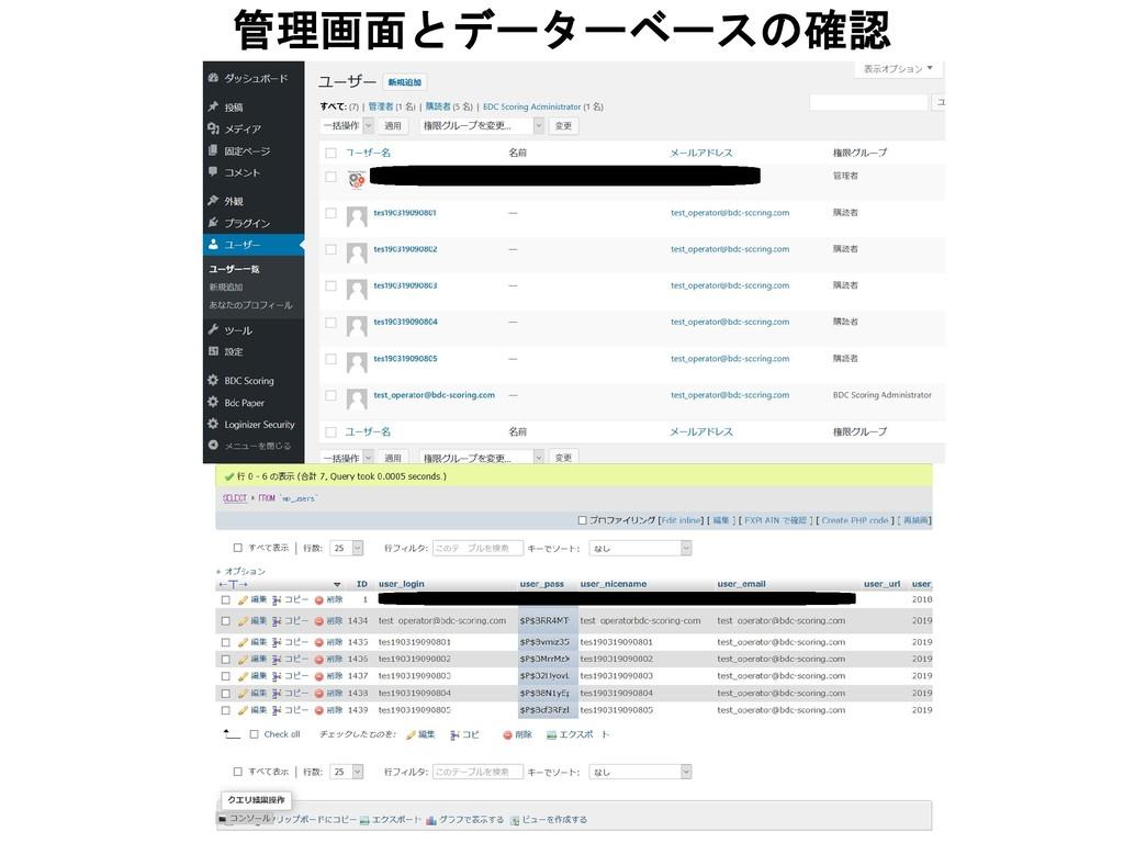 管理画面とデーターベースの確認