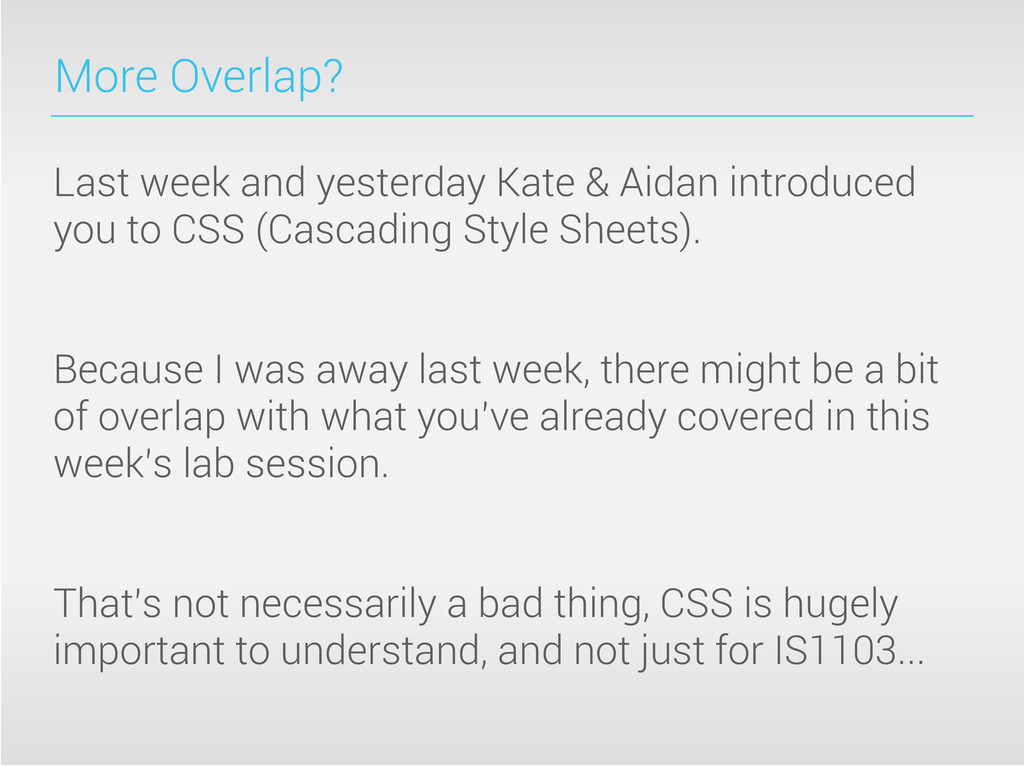 More Overlap? Last week and yesterday Kate & Ai...
