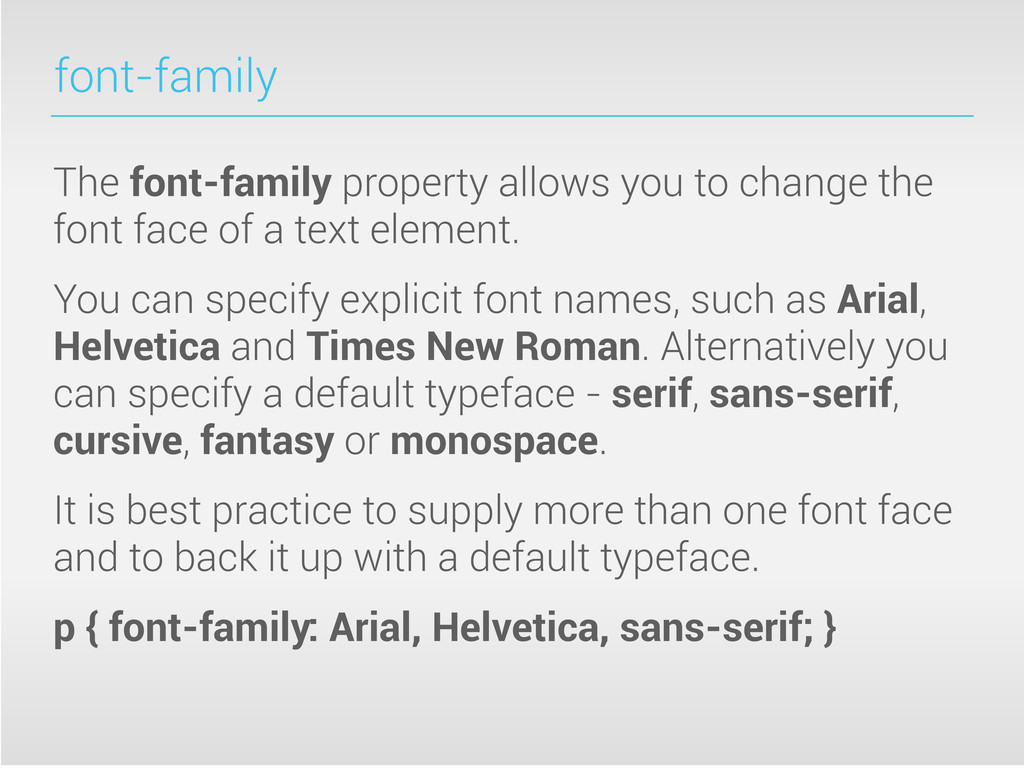 font-family The font-family property allows you...