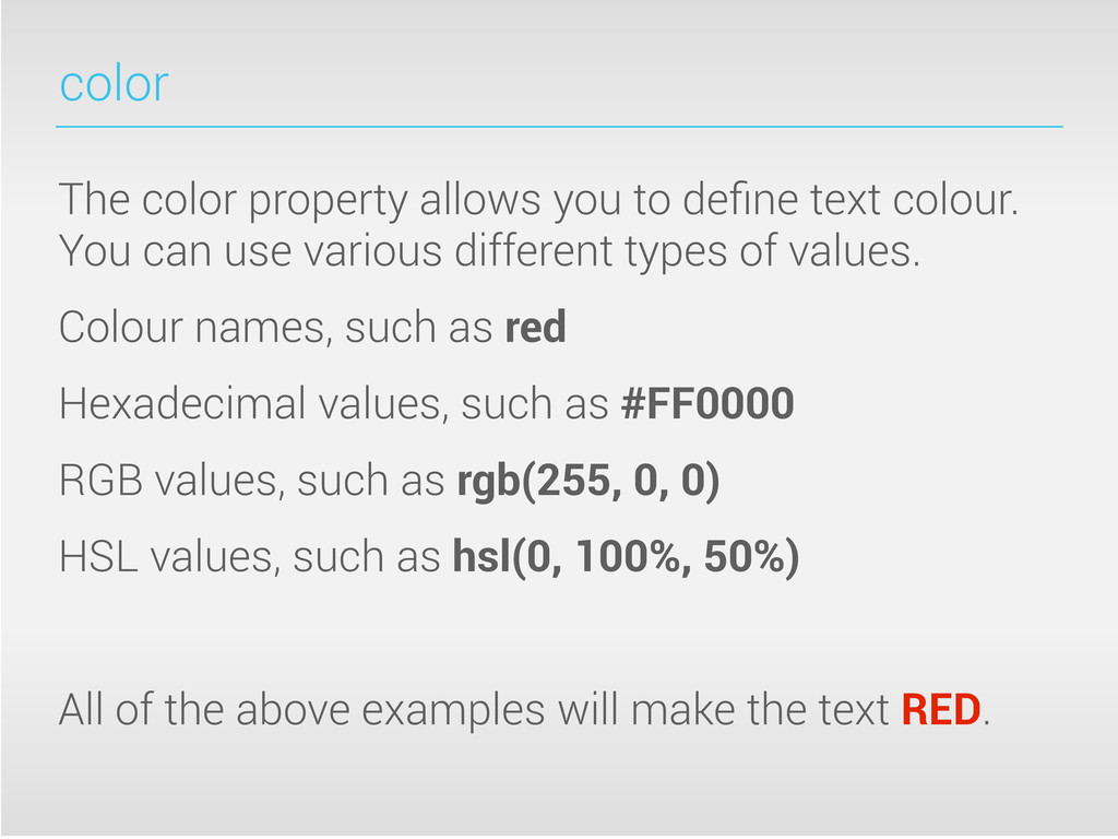 color The color property allows you to define te...