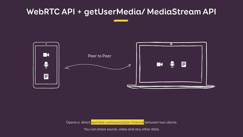 WebRTC API + getUserMedia/ MediaStream API Open...