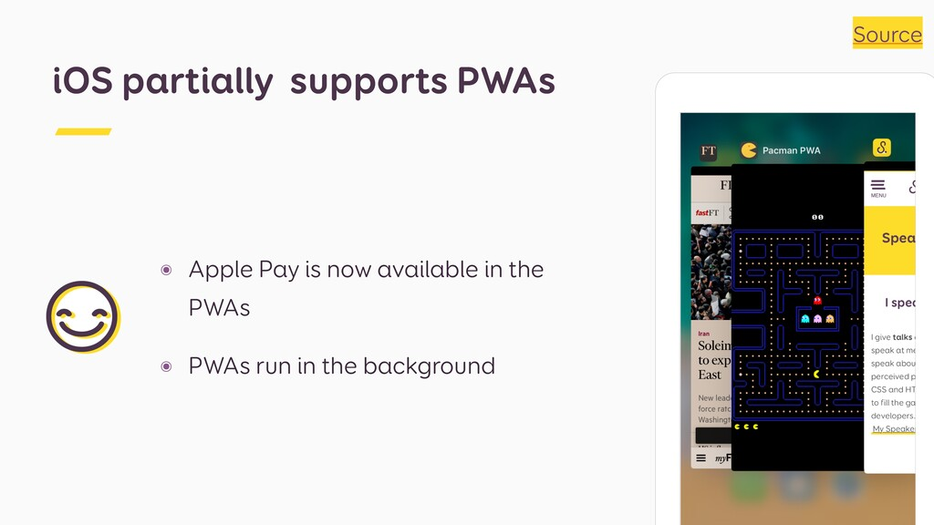 ๏ Apple Pay is now available in the PWAs ๏ PWAs...
