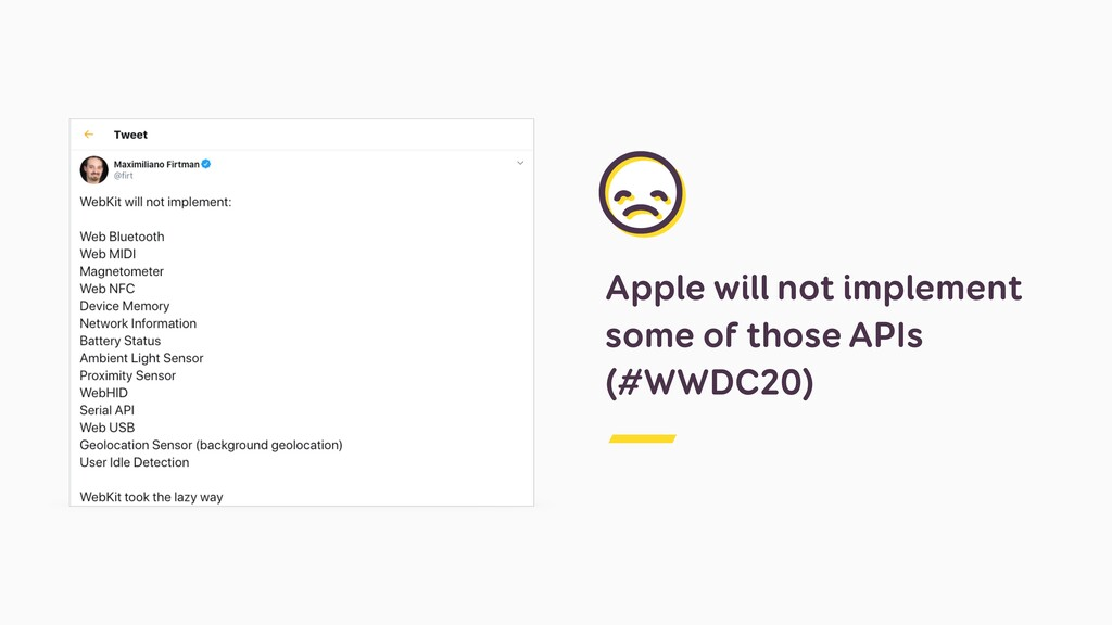 Apple will not implement some of those APIs (#W...