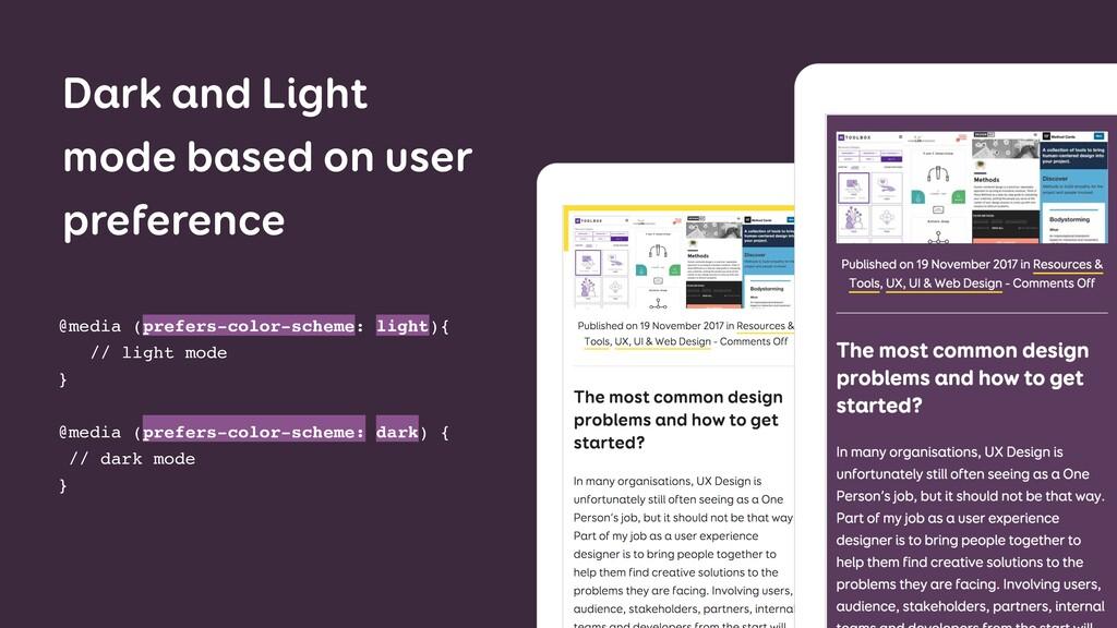 Dark and Light mode based on user preference @m...