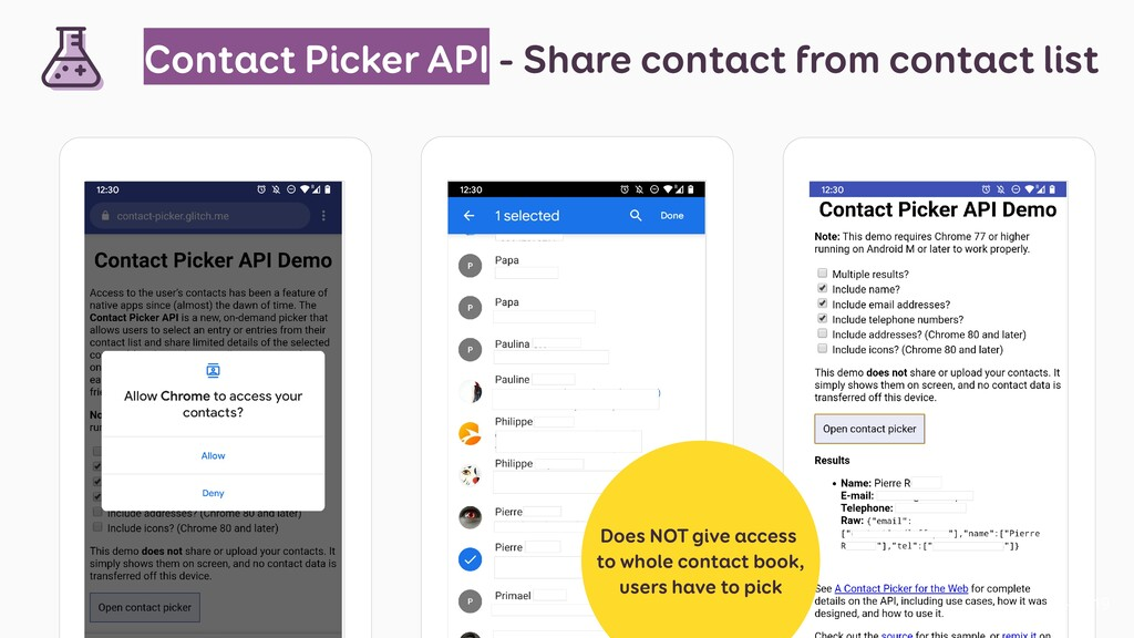 Contact Picker API - Share contact from contact...