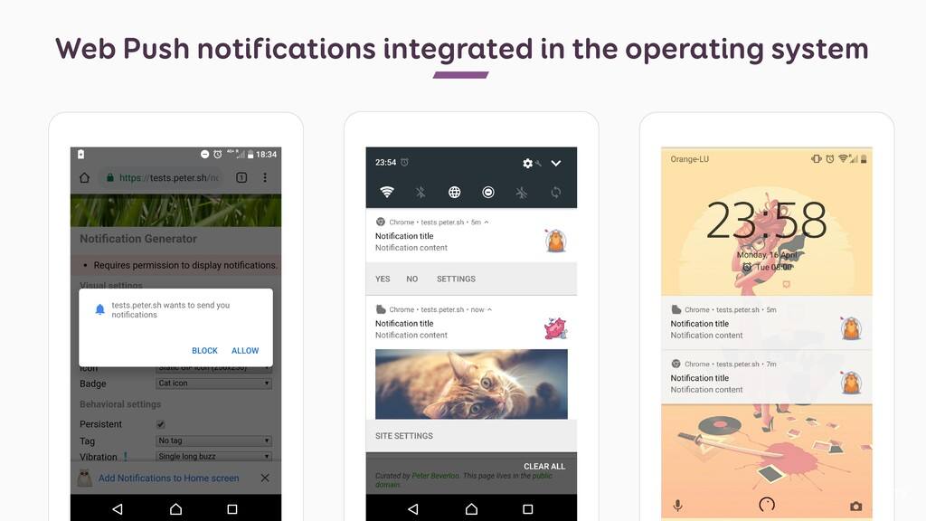 Web Push notifications integrated in the operat...