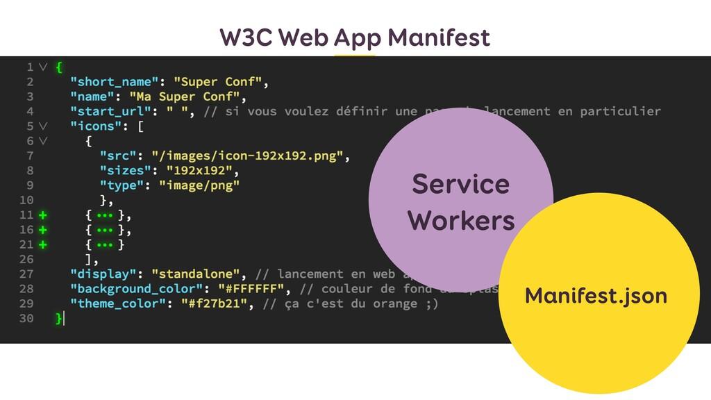 W3C Web App Manifest Un fichier manifest.json q...