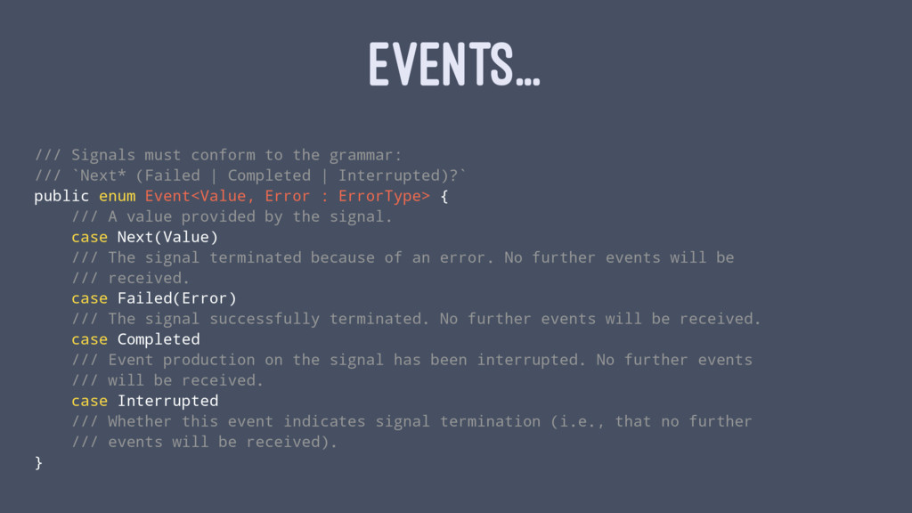 EVENTS... /// Signals must conform to the gramm...