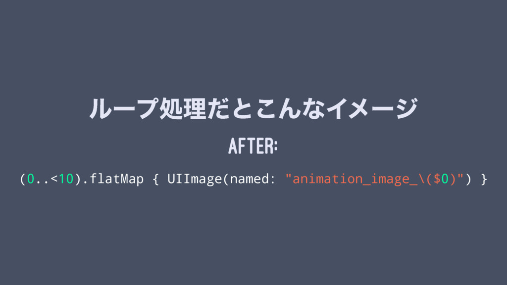 ϧʔϓॲཧͩͱ͜ΜͳΠϝʔδ After: (0..<10).flatMap { UIImag...