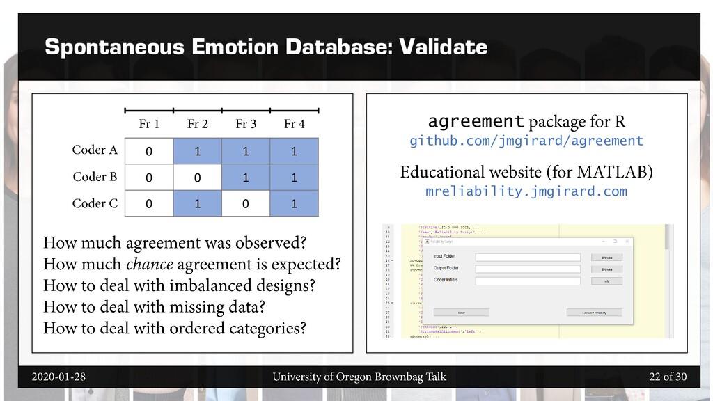 Spontaneous Emotion Database: Validate agreemen...